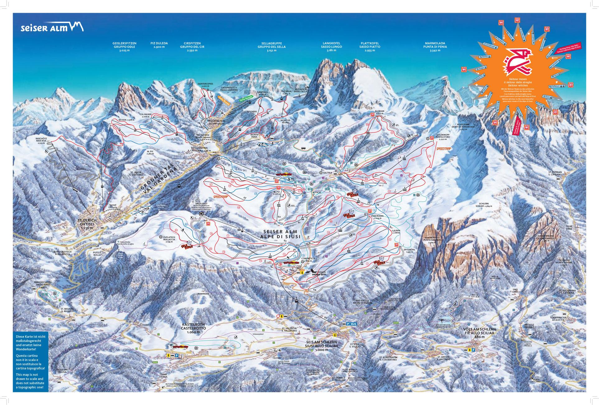 Alpe di Siusi Map Ski Mapa Alpe di Siusi